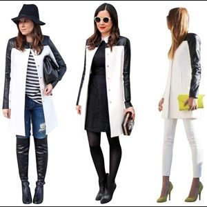 Zara white faux leather black long jacket …